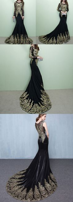 Golden appliques prom dress.Long sleeve prom dress,Gorgeous black prom dress,Mermaid prom dresses, PD21134