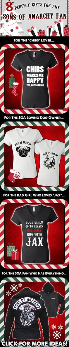 Find the perfect gift for the Sons of Anarchy fan on your list! Shop our gift guide here: http://www.soafanatic.com/2015/11/gift-ideas-for-the-sons-of-anarchy-fan-on-your-christmas-list/?ref=pinterest-soagiftguide
