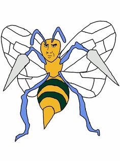"""""""Not the bees!!!! AHHHHH!!!!""""  #015 Beedrill - with a Nicholas Cage face."""