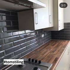 Dream Home Marylebone Dark Grey Wood Worktop Kitchen, Kitchen Splashback Tiles, Dark Gray Backsplash, White Countertops, Grey Tiles, Metro Tiles Kitchen, Kitchen Tiles Design, Kitchen Designs, Kitchen Interior