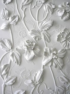 Three demential white floral wall