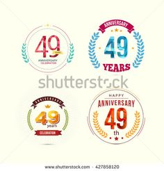 49 Years Anniversary Set with Low Poly Design and Laurel Ornaments - stock vector