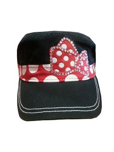Minnie is showing off her bow with this darling baseball cap. Features Minnie's Bow covered in polka dots and Gems on the front of this cap. Disney Hat, Disney Outfits, Disney Parks Merchandise, Minnie Mouse Bow, Baseball Caps, Back Strap, Caps Hats, Ribbons, Headbands