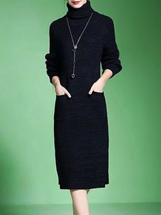10c3acc4988306 Knitted Long Sleeve Slit Turtleneck Casual Sweater Dress Casual