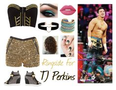 """Ringside For TJ Perkins"" by micole-hopke ❤ liked on Polyvore featuring Giuseppe Zanotti, Ginger Fizz, WWE, Lime Crime, Miss High & Low and Miss Selfridge"