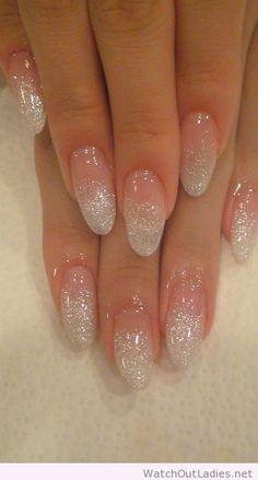 Holographic glitter fade nail art