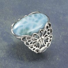 <3 Larimar & Sterling Silver Butterfly ring ~ I love larimar, and used it in my first mystery novel! It's only mined in the Dominican Republic.