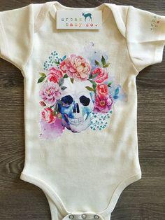 Floral Skull, Boho, Hippie, Flower, Baby, Girl, Infant, Toddler, Newborn…