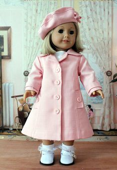 Pink Linen Coat and Hat for American Girl Doll. $95.00, via Etsy.