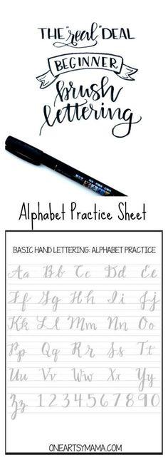 Cursive alphabet: Brush Lettering Practice Page Lettering Brush, Creative Lettering, Lettering Ideas, Brush Lettering Worksheet, Hand Lettering Fonts, Lettering Styles, Alphabet Practice Sheets, Caligraphy Practice Sheets, Brush Letter Alphabet