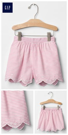 Stripe culotte shorts Baby Style, Girl Style, Kids Outfits Girls, Girl Outfits, Sewing Ideas, Sewing Patterns, Short Niña, Culotte Shorts, Gap Kids