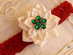 Christmas Kanzashi Poinsettia Satin Flower Headband Holiday by SanteenCreations
