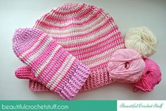 Free Crochet Hat and Mittens Pattern - Crochet creation by janegreen