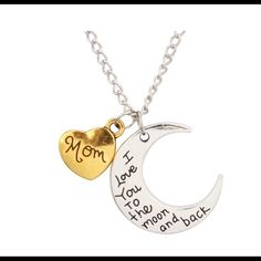 I love you to the moon necklace MOM I love you to moon, mom necklace. Statement. No pp no trades. Price firm unless bundled at 10% off. Limited quantities. Keywords for office use only: boho, pastel, Jewelry Necklaces