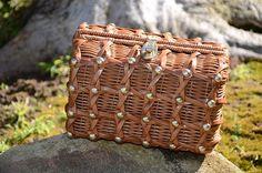 Vintage 50s/60s Woven Wicker Basket Hand Bag/ Clutch Purse British Hong Kong Made/ Summer Rockabilly Bag