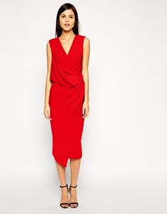 ASOS Wrap Drape Midi Dress - How elegant is this number? Love a wrap drape dress – accentuates your figure in the right places. http://asos.do/4iCM8h