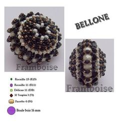 pattern for beaded bead bellone | Beads Magic U need:  Seed beads 15/0  Seed beads 11/0 (2 types)  32 bicone beads  3 mm  16 beads 4 mm  1 round bead 16 mm   (PAGE 1 OF 5)
