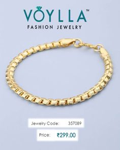 """#Simple And #Lovel Yelloew #GoldPlated #Bracelet For #Men  #Price : Rs. 299.00  #Jewelry_Code : 357089  #Material : Brass"" www.bionto.com"