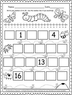 FREEBIE! (5 pages) Fill in the missing numbers (0-20) with the bugs & more! kindergarten math