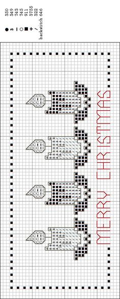 merry christmas bookmark #cross-stitch #chart
