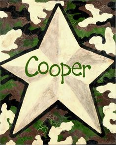 Camo Star Hand Painted Canvas