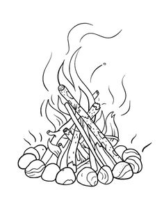 Printable campfire coloring page. Free PDF download at http://coloringcafe.com/coloring-pages/campfire/