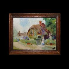 The Old Thatched Cottage Miniature Painting Miniature Paintings, Country Scenes, House Landscape, Frame Sizes, Miniature Dolls, 18th Century, Oriental, Scale, Old Things