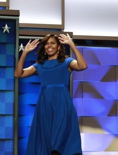 In an emotional speech, First Lady Michelle Obama—who wore Christian Siriano—spoke about her daughters, and how the results of this election would affect their lives forever. She touched on the fact that now, because of Hillary Clinton, her daughters, and girls all over the country, would take for granted that a woman could be President.