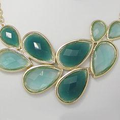 Green Jelly Bib Bubble Necklace Earring Set,