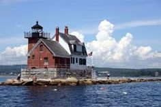 Rockland Breakwater Lighthouse, Maine at the entrance to the harbor. You can walk out to it on a flat 7/8 mile stone jetty-a beautiful walk.. lighthouse.cc