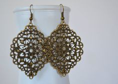 Bronze Earrings, Lace Cloud Filigree Earrings, Boho Earrings, Statement Earrings, Fall Earrings, Bohemian Earrings, Hippie Earrings on Etsy, $8.00