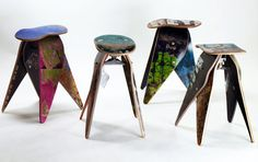 These chairs are made of skateboards. I have never liked skateboards as much as I do now!