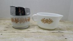 Pyrex Gravy boat, creamer, and gemeo Sugar container, vintage pyrex, fire king, glasbake by RandomGoodsVintage on Etsy