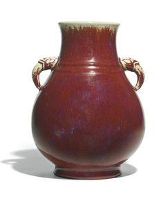A flambé-glazed Hu-shaped vase, Qing dynasty, 19th century