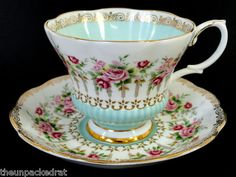 ❤☆.¸.☆❤...Royal Albert - Green Park Series - tiny red roses on an Aqua & white background❤☆.¸.☆❤