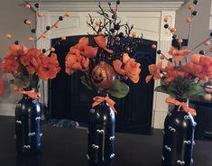 Halloween decor/beer bottles Empty Liquor Bottles, Beer Bottles, Halloween Decorations, Wreaths, Home Decor, Decoration Home, Door Wreaths, Room Decor, Deco Mesh Wreaths