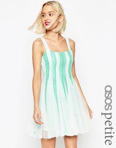 0e2e06fca33 ASOS PETITE Mesh Insert Fit And Flare Square Neck Mini Dress at asos.com
