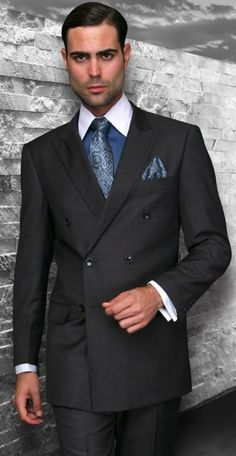 Men's 2 Pc DB Fashion Suit by STATEMENT - Solid - Dk Charcoal