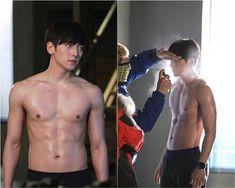 Photos of Ji Chang Wook shirtless on the set of Healer