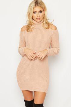 Alice Cold Shoulder Cable Knit Jumper Dress