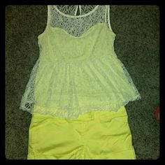 Cute spring/summer outfit Top is bright yellow with lace overlay SIZE LARGE and shorts are same color SIZE 11 Juniors. Worn once. EXCELLENT CONDITION. Other