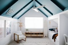 Inspirational ideas about Interior Interior Design and Home Decorating Style for Living Room Bedroom Kitchen and the entire home. Curated selection of home decor products. Three Birds Renovations, Built In Bed, Colored Ceiling, Ceiling Color, Cool Rooms, Boy Room, Room Kids, Cheap Home Decor, Kids Bedroom