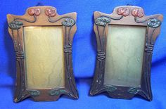Pair German Art Nouveau Wood Picture Frames #W*
