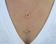 Bee necklace origami gold bee necklace geometric bee by ByYaeli