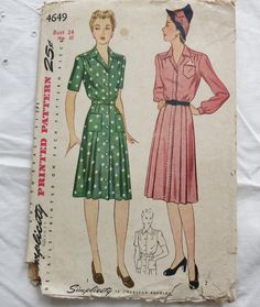 1940s Simplicity Women's Dress Sewing Pattern 4649 Bust 34 Vintage Complete