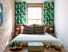 Tiny bedroom with jungle leaf curtains One Bedroom, Dream Bedroom, Bedroom Ideas, Narrow Bedroom, Bedroom Small, Brick Bedroom, Silver Bedroom, Bedroom Setup, Bedroom Beach