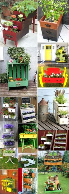 Discover all those old fashioned or worn out drawers and turn them into something that will surely liven up your patio or indoor area. Enhance and beautify your home decor with these awesome ideas of planters with used drawers. Diy Planters, Planter Boxes, Garden Planters, Planter Ideas, Garden Table, Outdoor Projects, Garden Projects, Outdoor Decor, Plantas Indoor