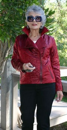 SOLEMATES - my, that is a great colour for a biker jacket! - bang-on style advice by Fabulous after 40 - read her blog!