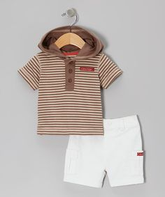 Take a look at this Brown Stripe Tee & White Shorts by Calvin Klein Jeans on #zulily today!