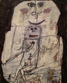 Jean Dubuffet (French, 1901-1985),Femme et bébé, 1956. Oil on canvas, 100.6 x 81.6 cm.